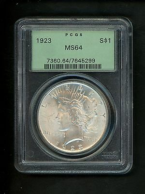 1923 US Peace Silver Dollar $1.00 $1 PCGS MS64 Uncirculated original patina Gem