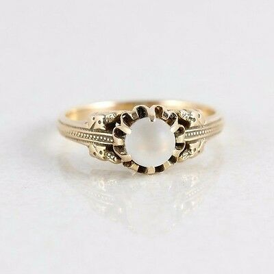 14k Yellow Gold Moonstone Ring Size 6 1/4 Antique Ring Victorian Ring