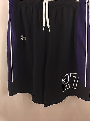 UNDER ARMOUR Basketball Long Shorts L Black Purple #27 Running Gym Work Out
