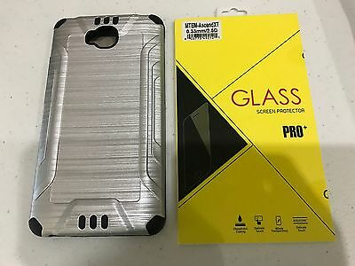 Two Layers silver Case + Temper Glass Combo For Huawei H1611 Ascend XT Phone