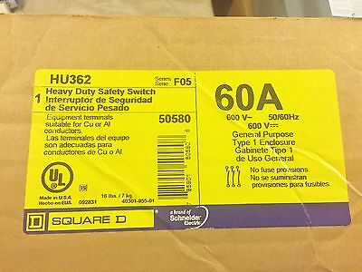 Nib Square D Hu362 Heavy Duty Safety Switch Enclosure 60A 600V Best Price