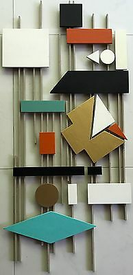 Vtg 50s Abstract Shapes Wood Wall Hanging Retro Art Mid Century Modern Googie