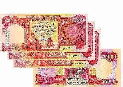 Iraq Iraqi 100,100 Dinar IQD  UNCIRCULATED Currency 4x 25000 (25,000) UNC Crisp