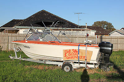 Boat and trailer, 5.2 meter fibreglass SeaFarer