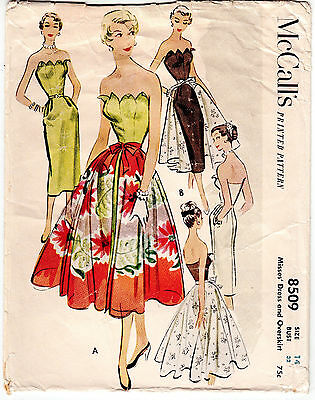 RARE Vintage Sewing Pattern 1950's Ladies Dress McCall's 8509 Petal Bodice Skirt