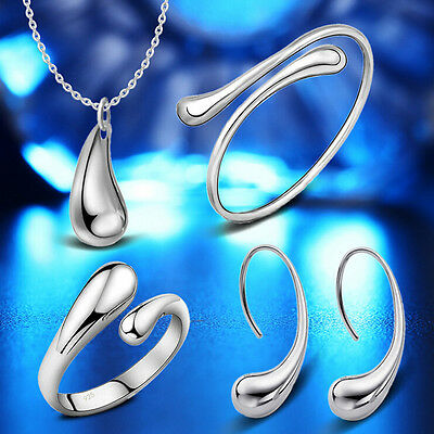 925 silver Plated drop jewelry sets necklace bracelet bangle earring ring