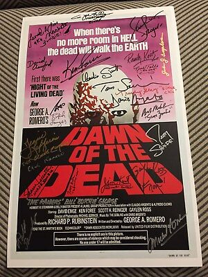 Dawn of the Dead - Poster signed by 23 cast/crew members: Foree, Reiniger etc.