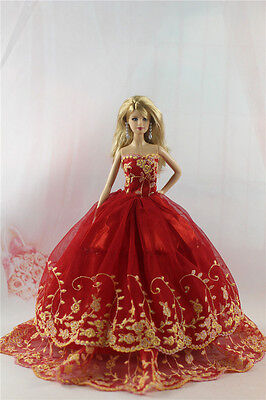 Fashion Handmade Princess Dress Wedding Clothes Gown for Barbie Doll L76