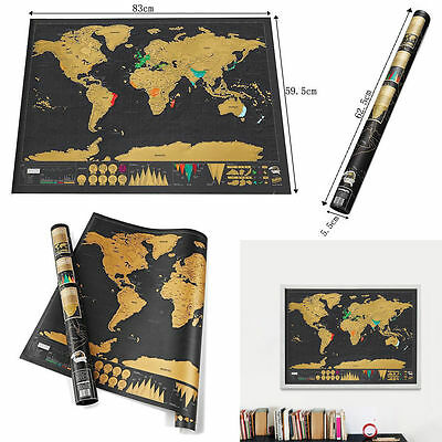 Big Deluxe Travel Edition Scratch Off World Map Poster Personalized Journal Gold