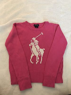 Ralph Lauren Polo Pink Sweater Kids  Size 12/14 Vintage