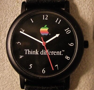 Apple Think Different Rainbow Logo Black Face Watch  Runs Backwards - Ultra Rare