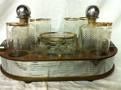 Vintage Bar Set Decanters Ice Bucket 6 glasses 4 small glasses Wood Tray