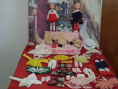 """Lot Of 2 1977 Vogue Ginny Dolls 8"""" Fully Dressed With Lots Of Extras Hong Kong"""