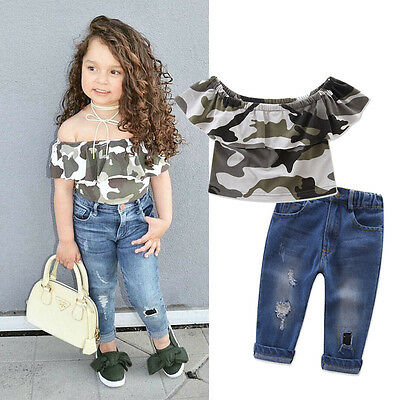 Summer Kids Girls Short Sleeve Camo Tops Jeans Pants Denim Outfits Clothes 1-7T