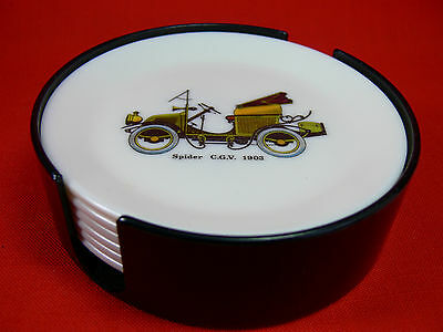 VINTAGE Set of 6 Bessemer Old Car Coasters in Holder, Melmac Melamine, RETRO BAR