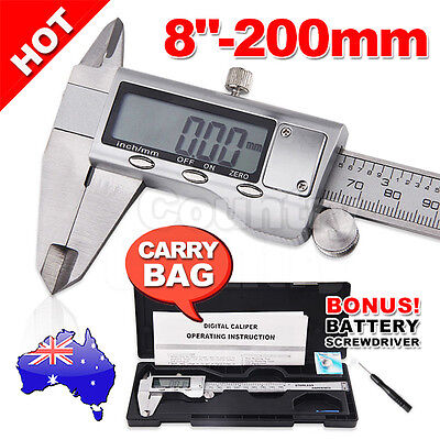 """200mm(8"""") Electronic Digital Stainless Vernier Caliper Micrometer with Case"""