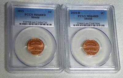 2015 P&D Lincoln Cent Penny PCGS MS66RD  -  FREE SHIPPING