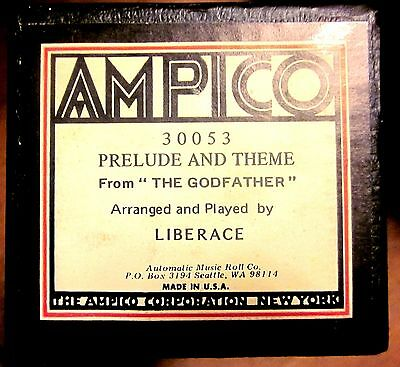 "AMPICO #30053 PRELUDE & THEME From ""GODFATHER"" by LIBERACE Player Piano Roll"