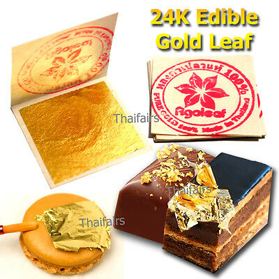 """20pcs 24K EDIBLE PURE GOLD LEAF 1.18""""x 1.18"""" FOR DECORATE CAKE FOOD LOVER ARTIST"""