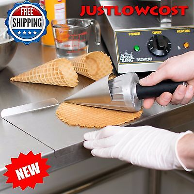 """Commercial 10"""" Waffle Cone Forming Rolling Tool Ice Cream 2-piece Carnival King"""