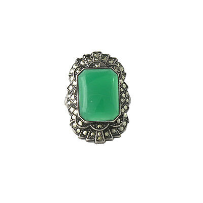 Large Art Deco Sterling Silver Chalcedony Marcasite Ring