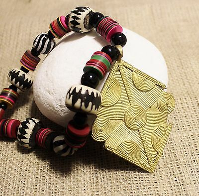 Large Colorful African Necklace Statement Jewelry Big Bold Brass Pendant Ethnic