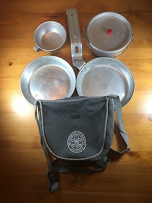 Boy Scouts Of Canada Mess Kit Pot Pan Cup Lid Bowl Plate Bag Camping Survival