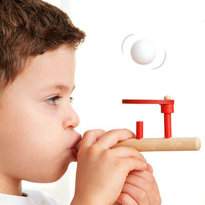 Classic Wooden Games Floating Blow Pipe & Balls Blowing Toys Fun Stress Reliever