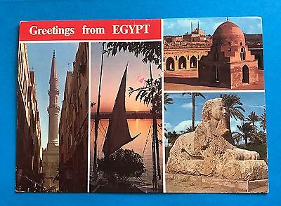 Greetings From Egypt Postcard Sphinx Sunset Nile Cairo Citadel Toulon Mosque