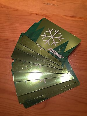 Lot Of 9 Subway Gift Cards Snowflake Green Winter Unactivated No cash Value