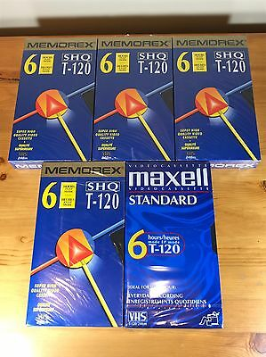 Lot of 5 VHS Tapes 4 Memorex 1 Maxell T-120 6hrs New Unopened VCR