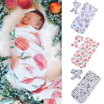 Newborn Infant Baby Swaddle Blanket Baby Sleeping Swaddle Muslin Wrap + Headband