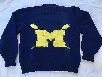 VINTAGE HANDMADE 80s 90s UNIVERSITY MICHIGAN ROWING SWEATER SWEATSHIRT COLLEGE