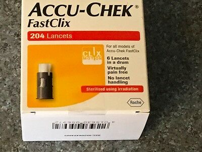 Accu-Check Fastclick Test Lancets - Box Of 204 Brand New Expiry 2019/2021