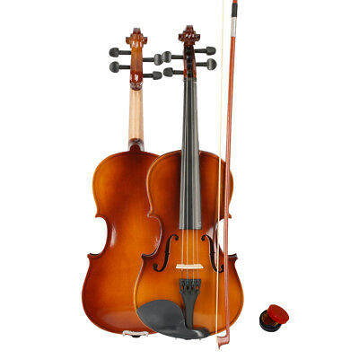 New 3/4 Acoustic Violin + Case + Bow + Rosin Natural for Kid Beginner Student
