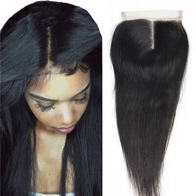 4*4 Closure Bresilien Vierges Humain Cheveux 3 Parting Raides Top Lace Frontal