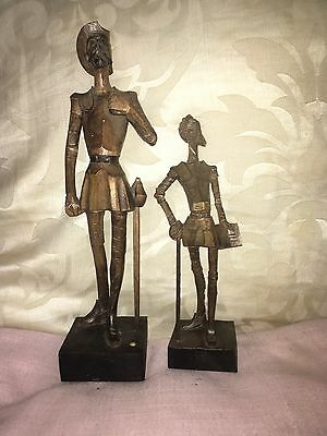 Don Quixote 2 Vintage Wooden Figures Contrasting Size Both Marked Ouro Artesania