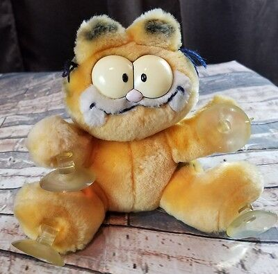 "Vintage Garfield Plush 1978-1981  8"" STUCK ON YOU Suction Cup Yellow Cat Plush"