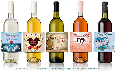 "4 Custom 3.75 x 4.75"" LABELS Personalized WEDDING ANNIVERSARY Wine Water Bottle"