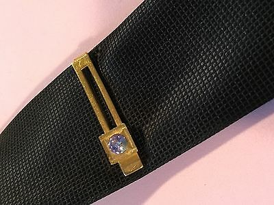 Vintage Collectable Gold Tone Tie Bar Tie Clip  Watermelon Crystal Tie Pin