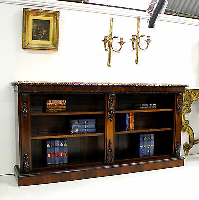 A Quality Rosewood William IV Marble Top Open Bookcase