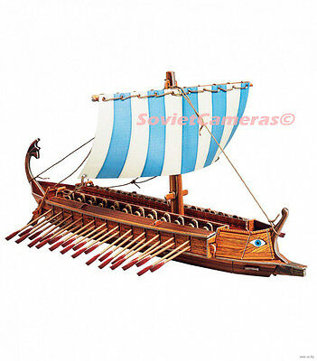 GREEK BIREME Cardboard Model kit 3D Puzzle Ancient Greece Oared Warship Play set