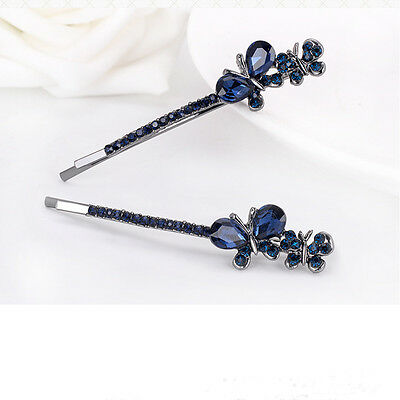 Women Crystal Rhinestone Hair Clip Fashion Butterfly Barrette Clamp Hairpin