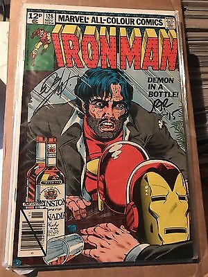 Iron Man 128 Demon in a Bottle Signed X2 By John Romita Jnr And Bob Layton Snr