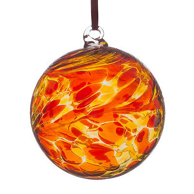 Stunning Glass Friendship Ball/Witches Ball in Orange/Red