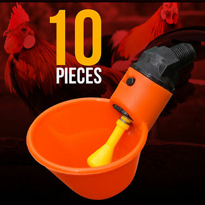 10 Chicken Drinker Cups automatic float poultry water drink cup coop system USA