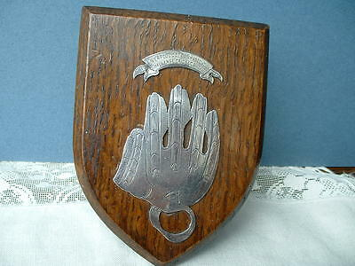 Liverpool Cotton Association Challenge Silver Cricket Glove Wood Shield Plaque