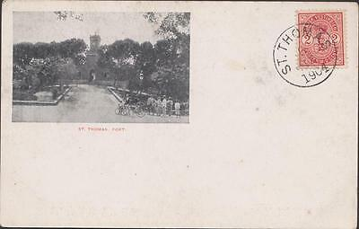 DENMARK DANISH ANTILLES Old postcard Stamps with obliteration of St Thomas 1904