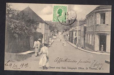 DENMARK DANISH ANTILLES Old postcard Stamps with obliteration of St Thomas 1907
