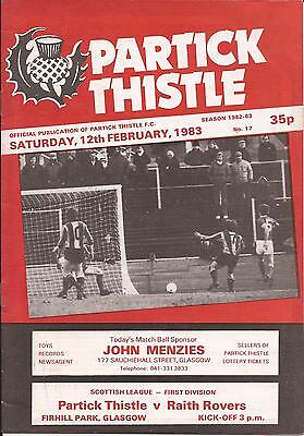 Football Programme - Partick Thistle v Raith Rovers - Div 1 1983